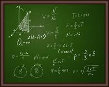 Blackboard with physical formulas Stock Illustration