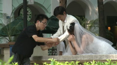 Bride & groom, wedding photos, China - stock footage