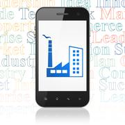 Business concept: Smartphone with Industry Building on display - stock illustration