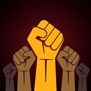 clenched fist held high in protest illustration - stock illustration