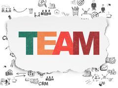 Finance concept: Team on Torn Paper background - stock illustration