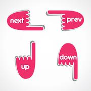 creative web link button like next, previous, up and down - stock illustration