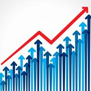 business graph design with arrow - stock illustration