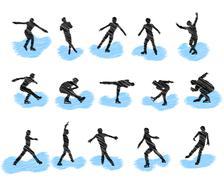 Stock Illustration of Set of figure skating grunge silhouettes