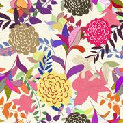 Stock Illustration of Seamless multicolor floral pattern