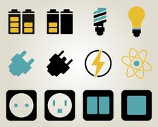 Electricity and energy icon set - stock illustration