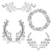 Wreaths and laurel wreaths. Round flower frames. Hand drawn Stock Illustration