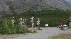 Entrance gate and directions poles are in Emercom mountain rescue base, Khibins Stock Footage