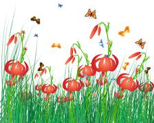 Color meadow - stock illustration