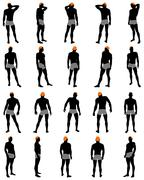 Set of men silhouette - stock illustration