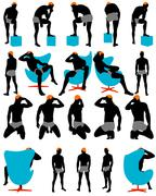 Set of men silhouette Piirros