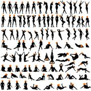 100 naked sexy girls silhouettes - stock illustration