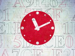 Timeline concept: Clock on Digital Paper background - stock illustration