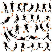 soccer silhoette set - stock illustration