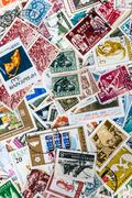 Stock Photo of Background of different brands of Bulgarian stamps