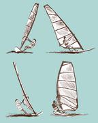 Windsurfing sketch - stock illustration