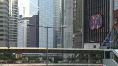 Downtown Hong Kong, pedestrian overpass Stock Footage
