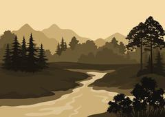 Landscape, Trees, River and Mountains Stock Illustration