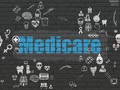 Health concept: Medicare on wall background Stock Illustration