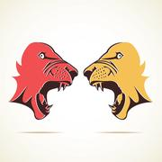 tiger in fighting mood face stock vector - stock illustration