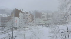 Winter panorama hotels in Roza Khutor plateau Stock Footage