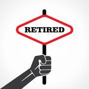 retired banner hold in hand stock vector - stock illustration