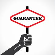 Guarantee word banner hold in hand stock vector Stock Illustration