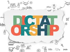 Stock Illustration of Politics concept: Dictatorship on Torn Paper background
