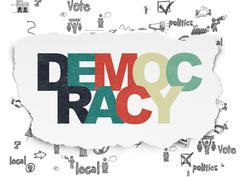 Political concept: Democracy on Torn Paper background Stock Illustration