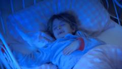Little girl bed nightmare HL beautiful dream Stock Footage