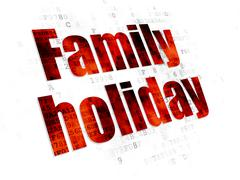 Stock Illustration of Travel concept: Family Holiday on Digital background