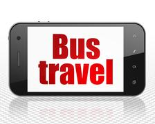 Tourism concept: Smartphone with Bus Travel on display Stock Illustration