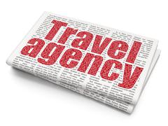 Tourism concept: Travel Agency on Newspaper background - stock illustration