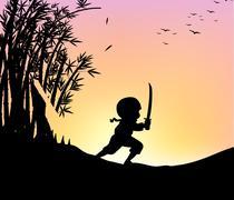 Silhouette ninja cutting bamboo with sword Stock Illustration