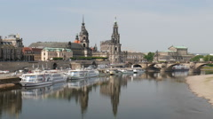 Dresden, Germany. View at the Elbe river Stock Footage