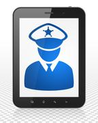 Law concept: Tablet Pc Computer with Police on display Stock Illustration