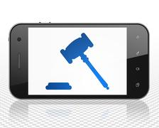 Stock Illustration of Law concept: Smartphone with Gavel on display
