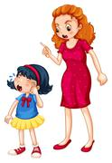 Angry mother shouting at crying daughter Stock Illustration