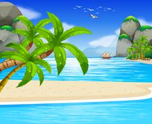 Ocean view with sail floating on water Stock Illustration