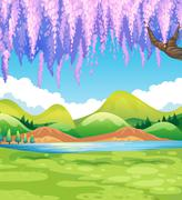 Nature scene with green field and willow tree Stock Illustration