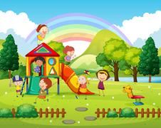 Children playing in the park at daytime Stock Illustration