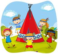 Children playing indians by the teepee Stock Illustration