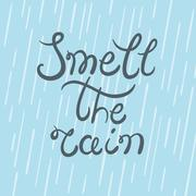 Smell the rain typography poster - stock illustration