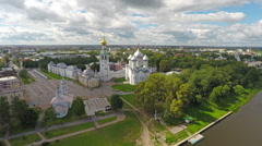 Flying over main square of Vologda city Stock Footage