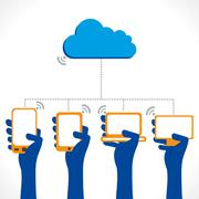 Cloud computing concept, connect every device vector Stock Illustration