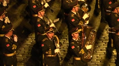 Musicians, performers, orchestra at Chinese Military Parade - stock footage