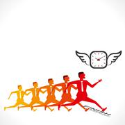 Competition, men compete to time concept vector Stock Illustration