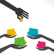 saving money , every piggy bank ready to save money concept vector - stock illustration