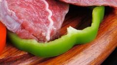 Fresh meat on wood Stock Footage