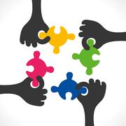 teamwork concept or join puzzle piece background vector - stock illustration